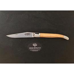 Laguiole Prestige Hirtenkreuz, Korkenzieher, Klinge Carbon 11cm, Griffmaterial: Olive